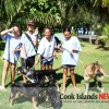 Local kids Astarlii Taokea, Morgan, Nicole Mangakahia and Poe Tiare Aporo helping Esther Honey Foundation to clean up the beach.